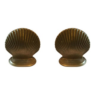 Vintage Brass Clam Shell Bookends - a Pair For Sale