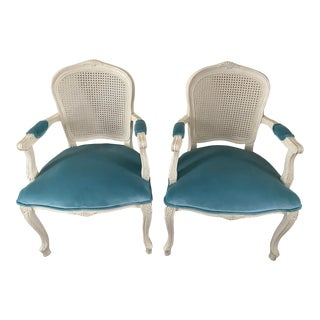 Pair of Painted French Style Caned Chairs For Sale