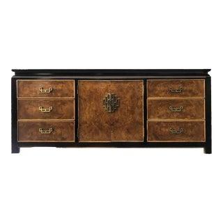 1970s Vintage Century Furniture Burl Wood Chinoiserie Dresser For Sale