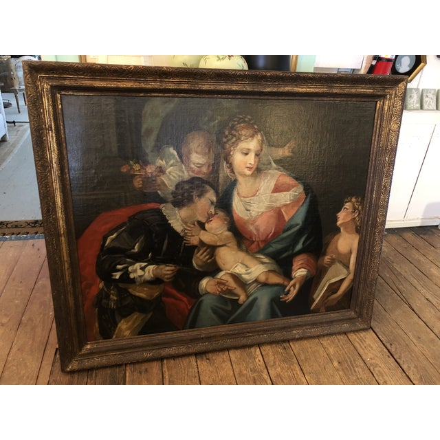 Large Original Oil on Canvas of Madonna and Child With Patrons For Sale - Image 13 of 13