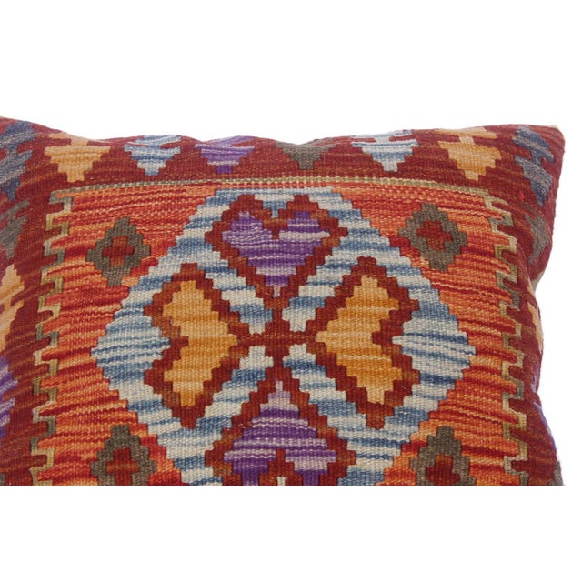 """Charmain Red/Rust Hand-Woven Kilim Throw Pillow(18""""x18"""") For Sale - Image 4 of 6"""