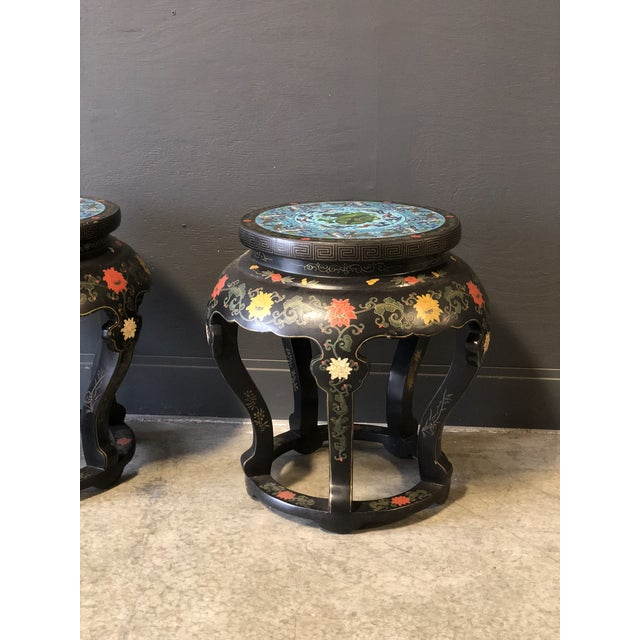 Cloisonné 1920's Chinese Round Black Lacquered Side Tables With Blue Cloisonné Tops For Sale - Image 7 of 10
