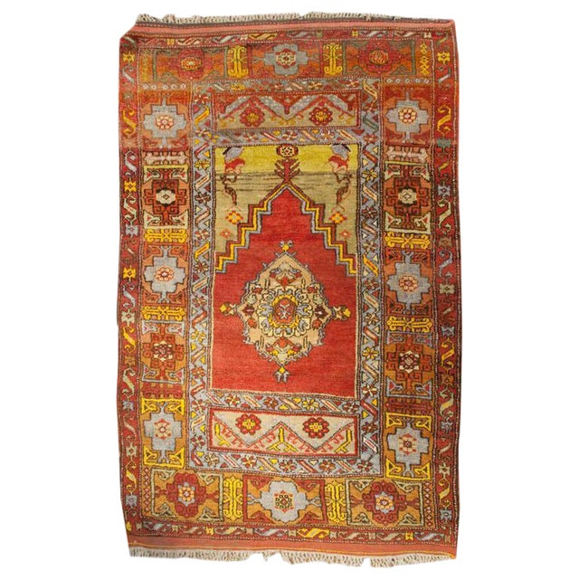 """Early 20th Century Turkish Prayer Rug - 48"""" x 64"""" For Sale"""
