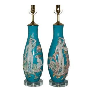Vintage Aqua Fantoni Ceramic Mermaid Table Lamp Pair For Sale