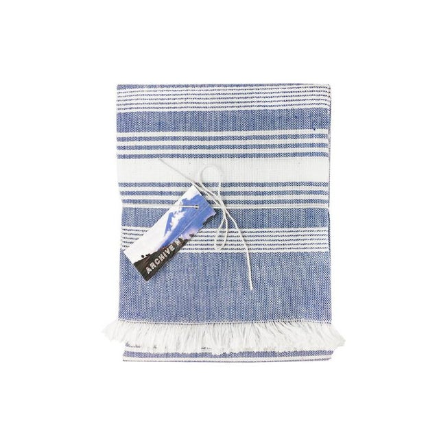 Nautical Blue Chambray Kitchen Towel For Sale - Image 3 of 4