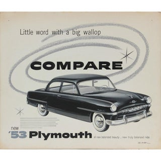 Original Vintage Plymouth Cars Advertising Drawing 1950-60s Gouache & Pastel For Sale