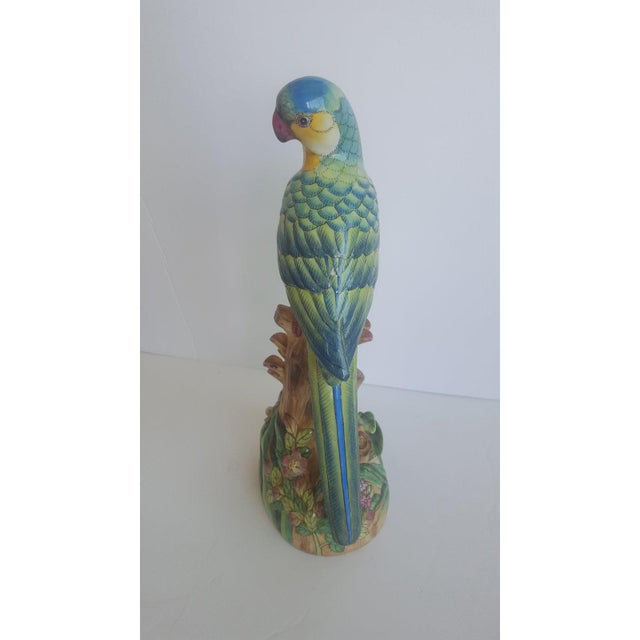 Vintage Handpainted Chinese Porcelain Parrot For Sale - Image 9 of 10