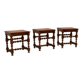 19th Century Set of Three French Walnut Stools For Sale