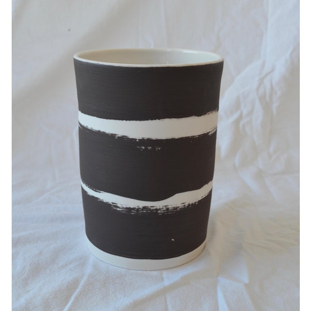 Contemporary Ceramic Striped Cylindrical Vessels - Set of 5 For Sale - Image 11 of 13