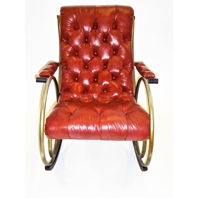 Hollywood Regency 1970s Modern Woodard Sculptural Tufted Leatherette Rocking Chair For Sale - Image 3 of 12