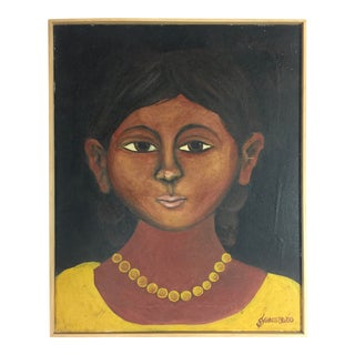 "Vintage Mid-Century Guerrero ""Muchacha"" Female Portrait Painting For Sale"