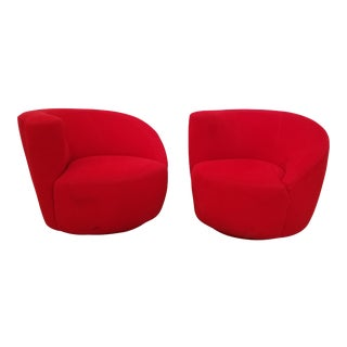 1980s Vintage Vladimir Kagan Nautilus Swivel Chairs - A Pair For Sale