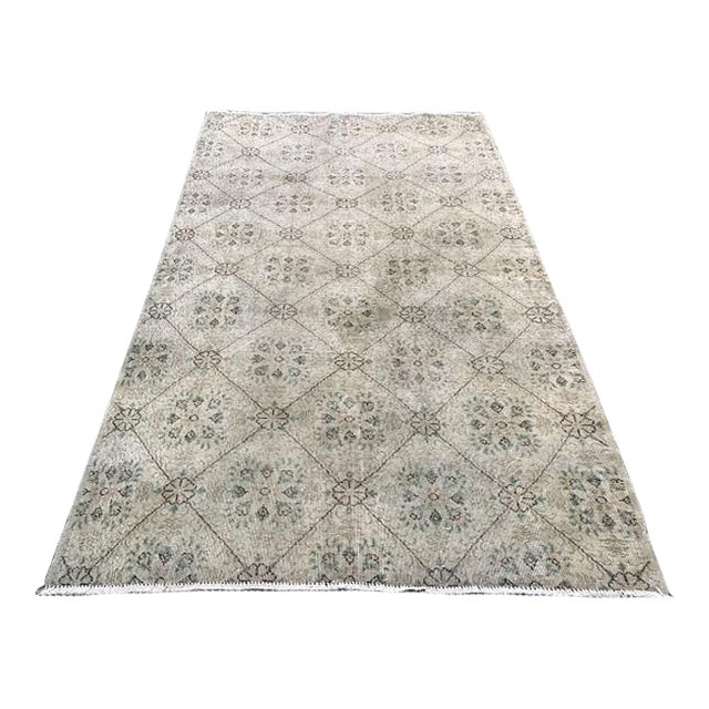 Handwoven Vintage Area Rug - 5′6″ × 9′1″ For Sale
