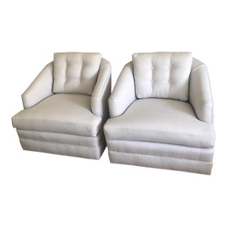 Vintage Mid-Century Modern Gray Club Chairs - A Pair For Sale