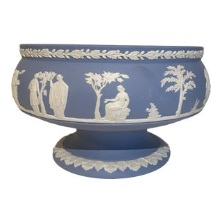 Vintage Wedgwood Blue Jasperware Imperial Pedestal Bowl For Sale