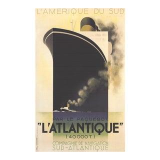 "A.M. CASSANDRE L'Atlantique 39.25"" x 27.5"" Poster 1998 Vintage Black Boat, Ship, Ocean - Set of 10 For Sale"
