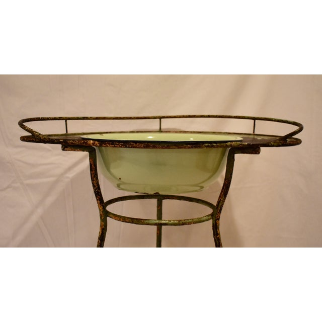 Wrought Iron Washstand With Enameled Copper Bowl For Sale In Washington DC - Image 6 of 11