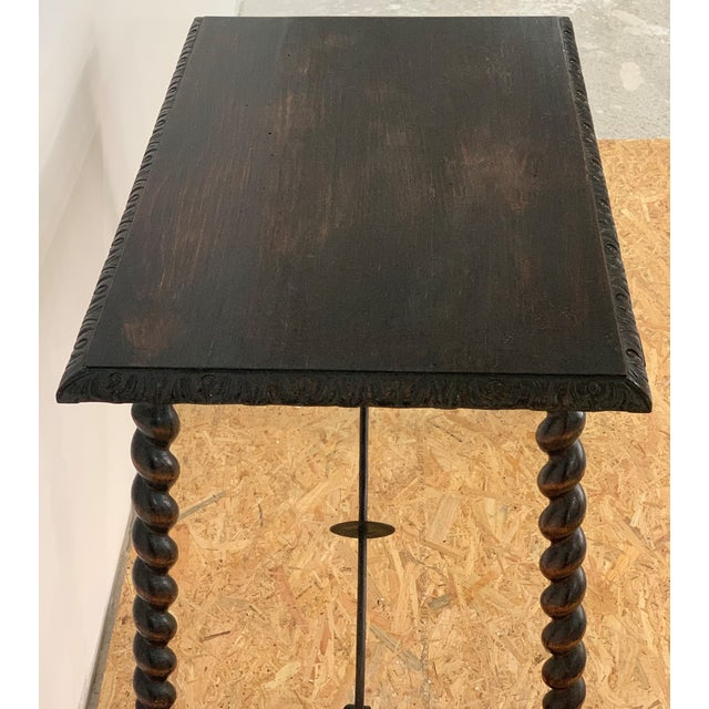 Late 19th Century 19th Century Salomonic Baroque Side Table With Carved Top and Iron Stretchers For Sale - Image 5 of 11