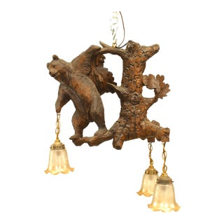Rustic Black Forest Style Walnut Carved Chandelier For Sale