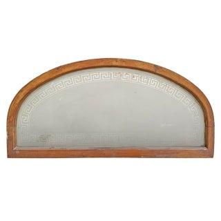 19th Century American Arch Top Greek Key Transom Window For Sale