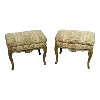 Louis XV Style Distressed Paint Benches - a Pair For Sale