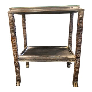 Asian White Washed Side Table With Glass Top For Sale