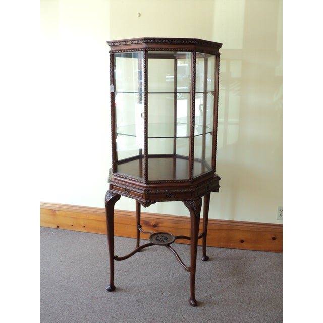 Red Vintage Octagonal Shaped China/ Display Cabinet For Sale - Image 8 of 8