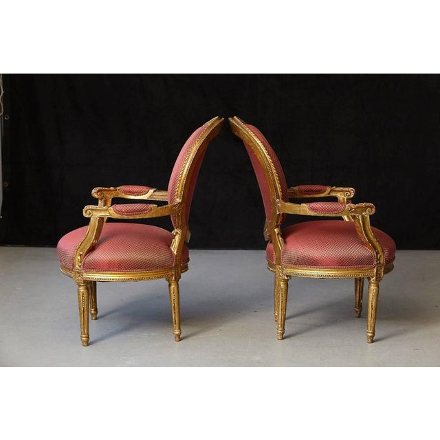 Late 19th Century Pair of French Louis XVI Style Gilded Fauteuils For Sale - Image 5 of 10