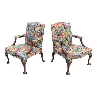 Vintage Kittinger Chippendale 17th Century Style Mahogany Library Arm Chairs - a Pair For Sale