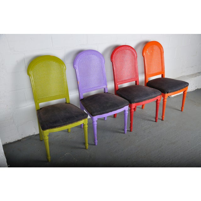 1970's Vintage French Multicolor Dining Chairs With Cane Back - Set of 4 For Sale - Image 4 of 13