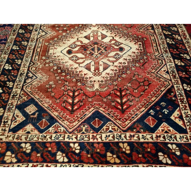 Cotton 1940s Vintage Persian Shiraz Tribal Carpet - 5′2″ × 10′1″ For Sale - Image 7 of 9