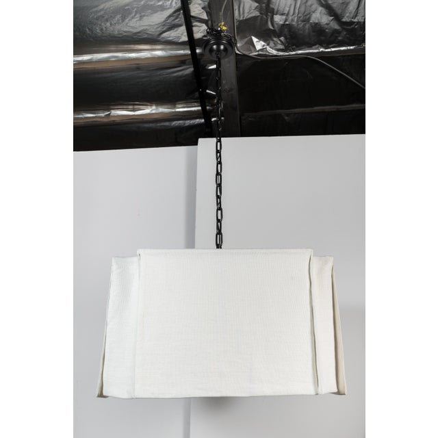Metal Modern Draped Linen Chandelier by Paul Marra For Sale - Image 7 of 9