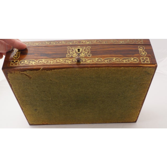 Brass 19th C. Brass Inlaid Rosewood Artist Box For Sale - Image 7 of 9