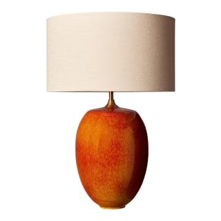 Canyon Burnt Orange Lamp With Shade For Sale