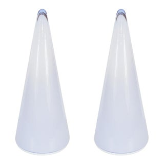 Blue and White Murano Glass Conical Table Lamps by Vistosi - a Pair For Sale