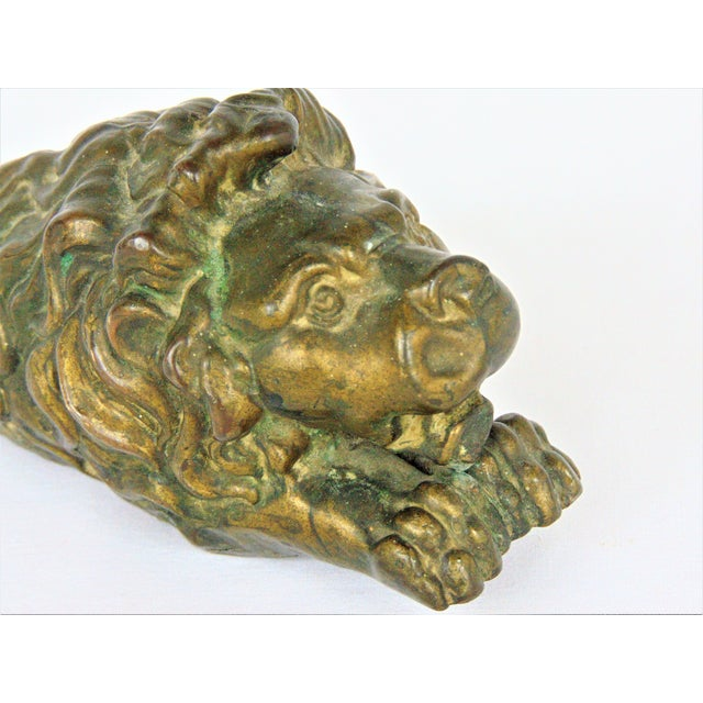 Antiqued Brass Lion Doorstop - Image 4 of 5