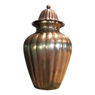 Vintage Mid-Century Solid Brass Ginger Jar Urn