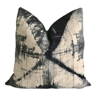 Vintage Mud Cloth Tie-Dye and Linen Pillow For Sale