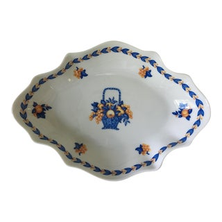 Limoges, France Blue Basket Motif Porcelain Tray For Sale