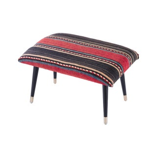 Pasargad Home Bosphorus Collection Red & Black Kilim Cover Ottoman For Sale