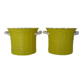Italian Yellow Cachepots, a Pair For Sale