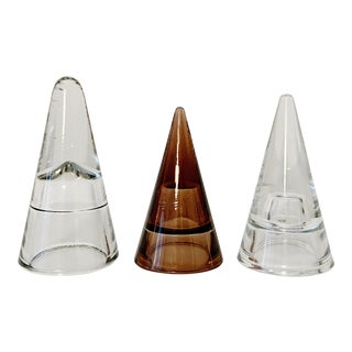 Vintage Cone Shape Glass Paperweights - Set of 3 For Sale