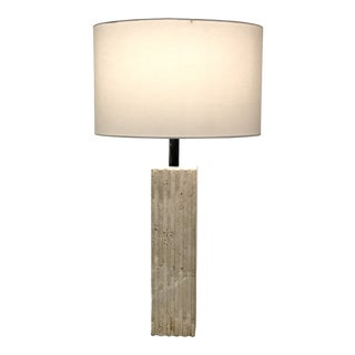 Vintage Modern Italian Travertine Table Lamp For Sale