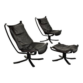 Sigurd Resell for Vatne Mobler Mid-Century Falcon Chairs & Ottoman - Set of 3