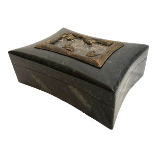 Art-Deco Style Black Marble & Brass Coffee Table Box For Sale