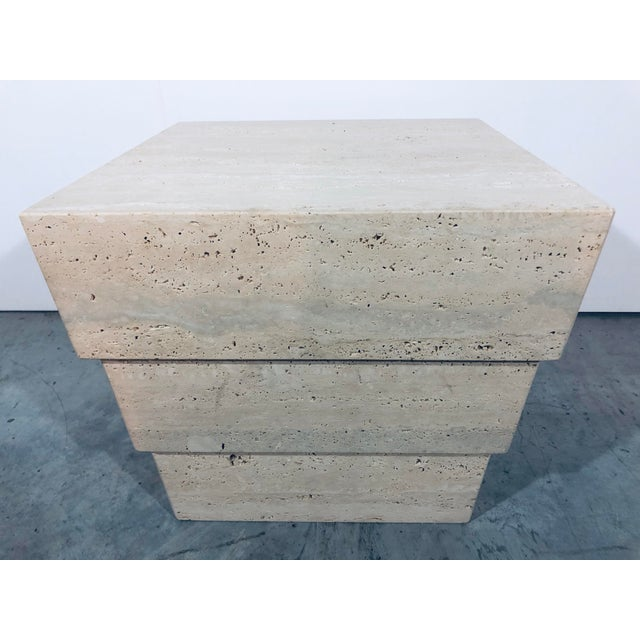 1970s Mid-Century Modern Italian Travertine Pedestal For Sale - Image 11 of 12