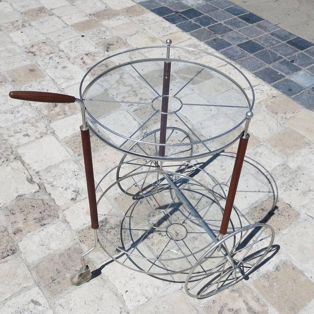 1950s Ultra Charming Rolling Cocktail Trolley Cart For Sale - Image 5 of 6