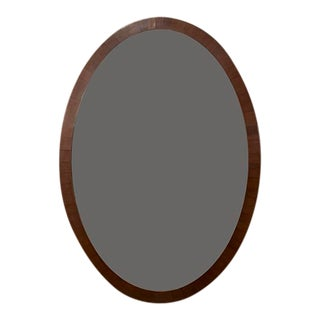 English Mahogany Oval Mirror For Sale