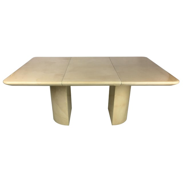 1980s Modern Parchment Extension Dining Table by Ron Seff For Sale In San Francisco - Image 6 of 6