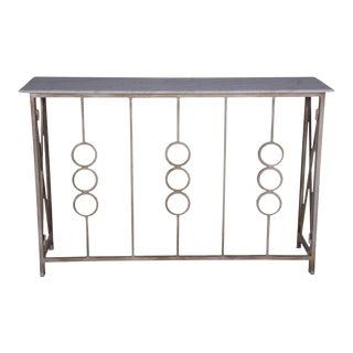 Metal Entryway Console With Marble Top, Hallway or Entryway, Unique Design, Contemporary- Antique Whitewash For Sale